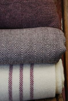 Barney Woven Welsh Wool Blanket: Plum Stripe