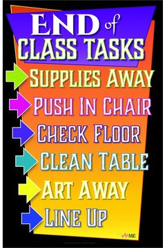 End of Class Tasks Printable Sign - Create Art with ME #artposter #endofclass #artroom #arted #artclassroommanagement