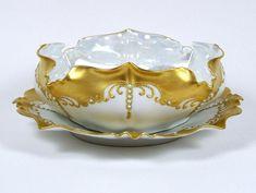Vintage Fruit Bowl Gilt Porcelain Enamel Beads Luster Interior w/ Plate & Ladle. Antique Dishes, Bowl Designs, China Porcelain, Blue Beads, Fruit, Decorative Bowls, Tea Pots, Enamel, Hand Painted
