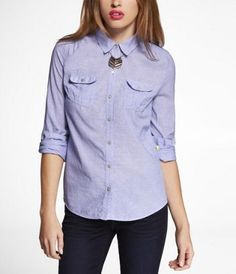 CHAMBRAY SHIRT - BLUE at Express