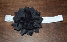 Black flower headband by MyBlessedMessGifts on Etsy