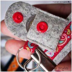 ♥ Schlüsselanhänger Metall Einkaufswagenchip ♥ PILZ AUF WIESE GLÜCKSPILZ