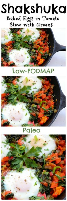 Shakshuka – Baked Eggs in Tomato Stew with Greens (Low-FODMAP, Paleo)