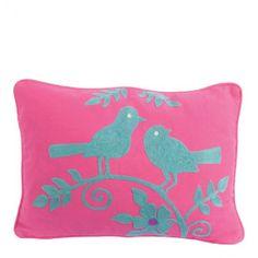 Pink/Sky Blue Folky Birds on Branch Filled Cushion