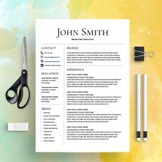 Modern Resume Template  Free Cover Letter  Cv Template  Ms Word