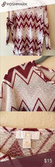Chevron Sweater from Charming Charlie Only worn 2x, Lightweight so it's great for spring! Colors are like a maroon and off-white/cream. Smoke/pet free home. Charming Charlie Sweaters