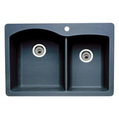 Blanco Diamond Dual-Mount Granite 33 in. Double Bowl Kitchen Sink in - The Home Depot Blanco Diamond Dual-Mount Granite 33 in. Double Bowl Kitchen Sink in Anthracite (Grey) Always wanted to lea. Granite Kitchen Sinks, Apron Sink Kitchen, Double Bowl Kitchen Sink, Farmhouse Sink Kitchen, Kitchen Fixtures, Sink In, Basin, Decorative Accessories