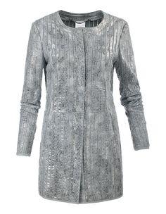#madeleinefashion #metallic Madeleine Fashion, Frock Coat, Silver Color, Frocks, Stretch Fabric, Leather Jacket, Grey, Sweaters, Jackets