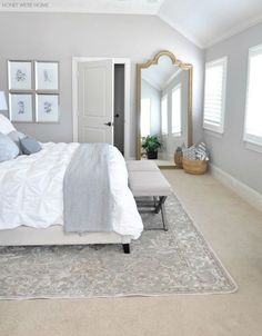 LOVE this giant mirror in the bedroom! Plus we will have more bedroom space than I know what to do with. Honey We're Home: Neutral Master Bedroom Refresh Glam Bedroom, Home Bedroom, Bedroom Decor, Bedroom Ideas, Grey Bedroom Walls, Beige Carpet Bedroom, Bedroom Furniture, Master Bedrooms, Grey Walls