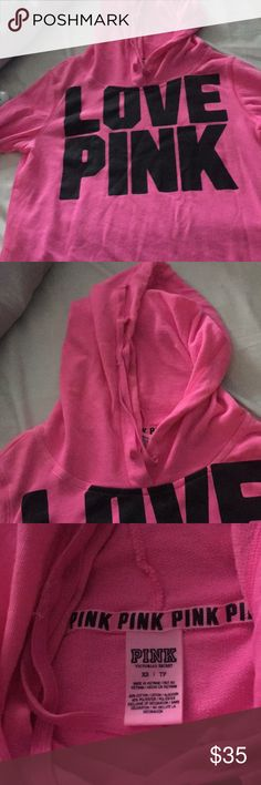 VS PINK Hoodie Pink hoodie that is still in good condition. Love it but selling it because it's too snug! Never been worn! Make your best offer!! PINK Victoria's Secret Other