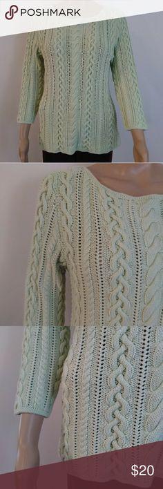 Lauren Ralph Lauren  size L Green knitted long-sleeved  Made in Hong kong 100% cotton Lauren Ralph Lauren Sweaters