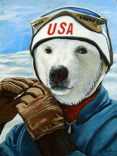 Winter Olympic Skier - Polar Bear     Linda Apple