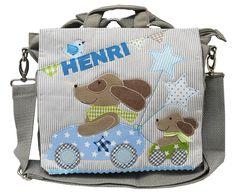 Kindergartentaschen - Kindergartenrucksack mit Namen- Blaues Hunderennen - ein Designerstück von wohnzwerg bei DaWanda meinegeschenkideen2016