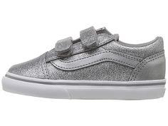 5eb360fc138567 Vans Kids Old Skool V (Toddler) Girls Shoes (Glitter + Metallic) Frost