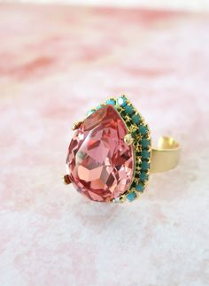 Rose Peach Swarovski Teardrop with Turquoise crystal adjustable ring - 14k plated gold adjustable ring, chic statement bold ring, www.glitzandlove.com