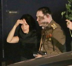 Tom Hardy and Noomi Rapace on the set of Child 44 in Prague.