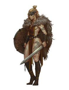 f Barbarian Cloak Shield Sword female Wilderness lg Fantasy Female Warrior, Fantasy Armor, Fantasy Women, Fantasy Girl, Female Viking Warrior, Warrior Girl, Fantasy Character Design, Character Design Inspiration, Character Art