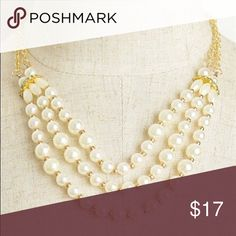 "Gold Triple Layer Pearl Necklace💗 Coming soon! Gold triple layer Pearl necklace with adjustable sizing.   Description: LENGTH: 6""  ❌Trades ✅ Price Firm ✴️ Bundles Save 20% 💟 Available in Silver Jewelry"