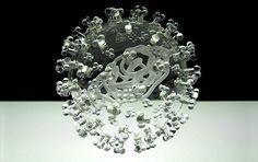 Bacteria And Virus Glass Sculptures - Swine Flu (spherical)