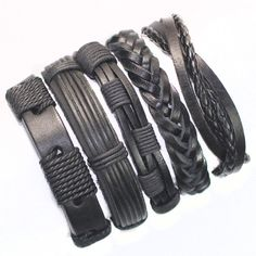 FL24-5pcs black wristband genuine braided wrap leather bracelets men 2017 bangles for women femme pulseira masculina couro mujer