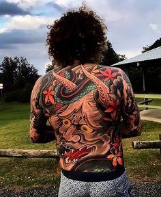 Japanese leg-sleeve tattoo by Swipe to the side to see all 4 photos! Japanese Legs, Japanese Sleeve, Hannya Tattoo, Irezumi Tattoos, Large Tattoos, Black Tattoos, Photographie Street Art, Japanese Back Tattoo, Worldwide Tattoo
