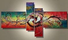 acrylic canvas paintings | ... Paintings Canvas Sets Wall Art 4 Pieces Acrylic on Canvas-0005