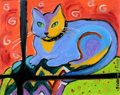 "Stacie Flint-Cat in a Window - 8""x10"""