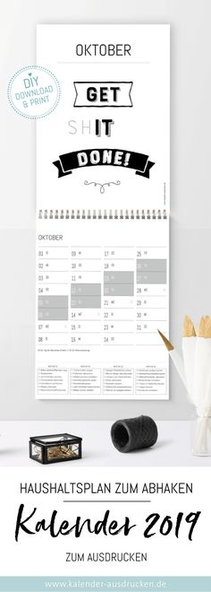 Calendar with budget. The year 2019 will be sparkling: Calendar with budget to check off at the bottom. Changing work in the home, which only takes about 15 minutes, help you to take up the daily fight with the chaos. # to print Source by kleinedesign