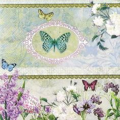 "4x Single Table Paper Napkins for Party, Decoupage, Craft ""Butterfly Medaillon"