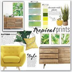 Tropical Prints: Yellow & Green Mood Board by lauren-a-j-reid on Polyvore featuring interior, interiors, interior design, home, home decor, interior decorating, Pier 1 Imports, Barclay Butera, Dot & Bo and WALL