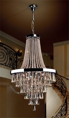 A large crystal and chrome chandelier great for atriums and large spaces.