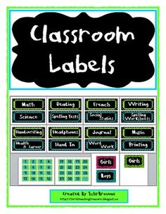 This year I decided to have  lime green, turquoise, and black as my classroom color scheme. I created these labels to use in my own classroom and t...