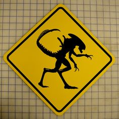 Hey, I found this really awesome Etsy listing at https://www.etsy.com/listing/170916234/xenomorph-crossing-sign-hr-giger-aliens
