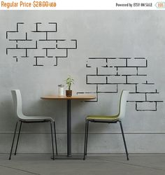 Items similar to Brick Wall Segments -Vinyl Wall Decal for Couples, Nurseries, Home Decor on Etsy Stencil Wall Art, Vinyl Wall Decals, Vinyl Art, Custom Vinyl, Wall Patterns, Metallic Colors, Wall Treatments, Wall Design, Condo Design