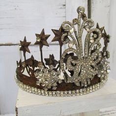 Aged metal rhinestone crown for statues embellished French Santos inspired tiara shabby elegant home decor Anita Spero Design by anitasperodesign. Explore more products on http://anitasperodesign.etsy.com