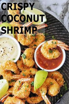 Delicious succulent juicy shrimp are coated in a pannko coconut breadcrumb and fried to crispy deliciousness! Serve these with 2 easy dipping sauces and watch them fly off the plate. #coconutshrimp #prawnrecipes @sweetcaramelsunday Prawn Recipes, Seafood Recipes, Dinner Recipes, Healthy Appetizers, Healthy Recipes, Sweets Recipes, Coconut Prawns, Sweet Chilli Sauce, Dipping Sauces