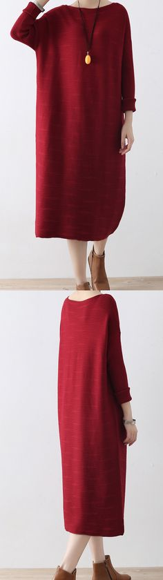 2017 autumn knit dresses loose casual sweater maxi dress