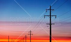 Power Lines at Sunset - Fototapeter & Tapeter - Photowall