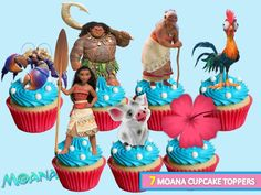 Moana Cupcake toppers, princess moana cake topper Printable, YOU PRINT