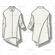 Vector fashion sketch template of a women's draped blouse with asymmetrical angled hem, center front seam, spread collar and angled cut and sew panel at back he