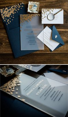 These frosted acrylic wedding invitation suites with gold leaves are both elegant and eye-catching! Luxury | Simple | Romantic | Gold | Unique | Leaves