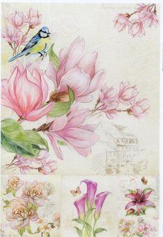 Rice paper for Decoupage l water color Magnolia rice paper l