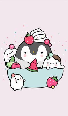 animals, art, background, beautiful, beauty, cartoon, colorful, cupcake, cute animals, cute art, design, drawing, hearts, illustration, kawaii, pastel, penguin, pink, pretty, strawberry, sugar, sweets, wallpaper, wallpapers, we heart it, kawaii food, beau