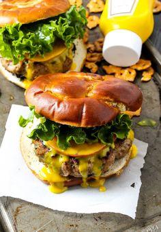 Honey Mustard Pretzel Turkey Burgers.