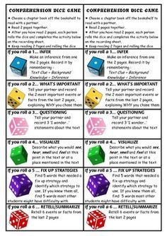 Reading Comprehension Dice Game... Great way to spice up guided reading
