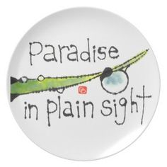 Paradise In Plain Sight, etegami art, tableware