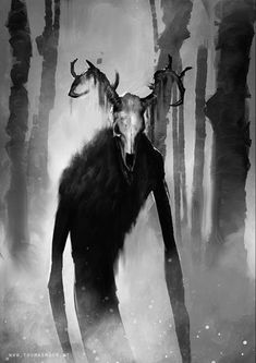 """""""Wendigo"""" by Thomas Moor is nicely off-kilter, with a vivid head standing out from the more painterly body and background. That's the end of Wendigo day. Dark Creatures, Mythical Creatures Art, Mythological Creatures, Magical Creatures, Fantasy Creatures, Fantasy Monster, Monster Art, Creepy Monster, Monster High"""
