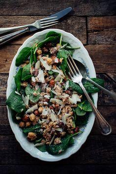 Salade met borlottibonen en spinazie en tonijn - Salad with borlotti beans, spinach en tuna | eten uit de volkstuin