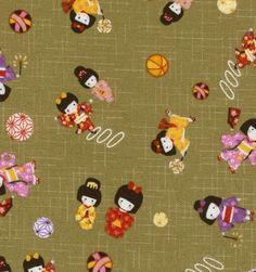 Japanese Fabric - Playing Kimono Girls in Green