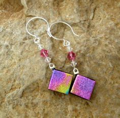 Hot Pink Dichroic Fused Glass Earrings